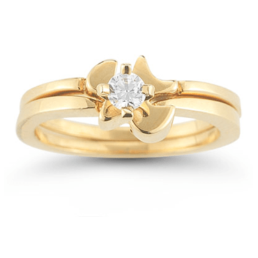 holy spirit dove cubic zirconia bridal ring set in 14k yellow gold christian rings - Christian Wedding Rings
