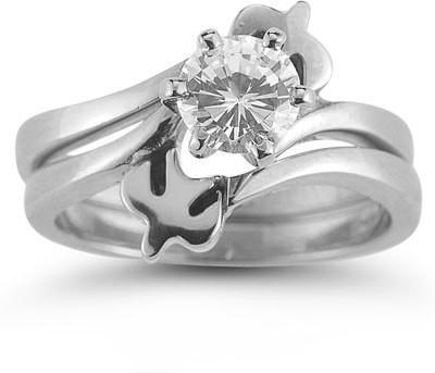 Holy Spirit Dove CZ Engagement Ring Set -14K White Gold-Christian Rings-Apples of Gold-AOGEGR-3015WCZ:4-SonGear