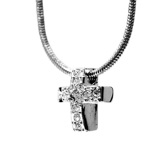 Hope: Everlasting Necklace with Petite Crystal Cross-Christian Necklaces-Halle Joy-SonGear