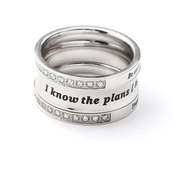 Jeremiah 29:11 - Trinity Stack Ring-Christian Rings-SonGear Marketplace-850261007139-850261007139-SonGear