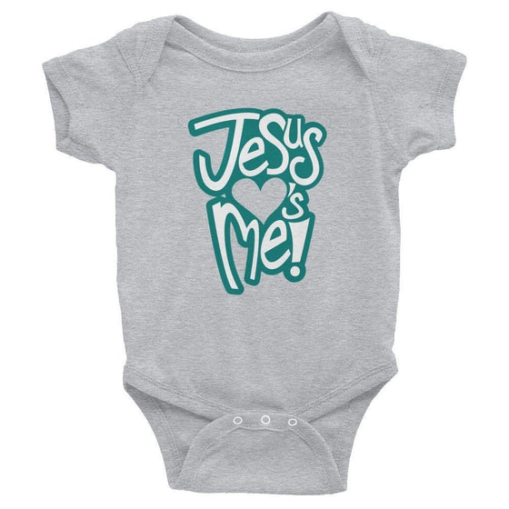 Jesus Loves Me - Onesie (Green Print)-Christian Infant Clothing-SonGear-2489295591-SonGear