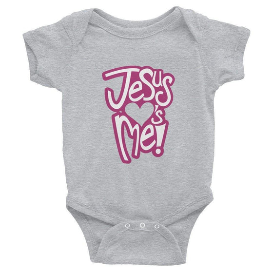 Jesus Loves Me - Onesie (Pink Print)-Christian Infant Clothing-SonGear-4050438010-SonGear