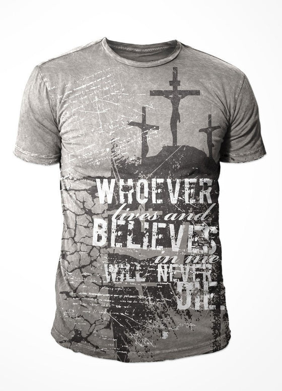 John 11:26 s/s Mineral Wash Tee-Christian T-Shirts-1 King Worship Wear-SonGear