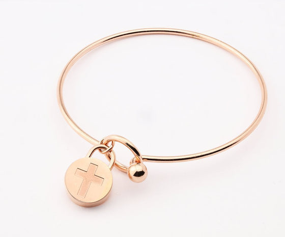 Journey Bangle - Circle Charm - Rose-Christian Bracelets-SonGear Marketplace-SonGear