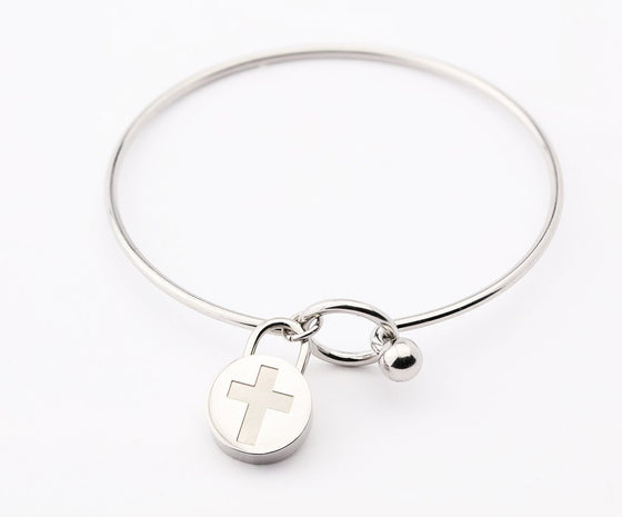 Journey Bangle - Circle Charm - Silver-Christian Bracelets-SonGear Marketplace-SonGear