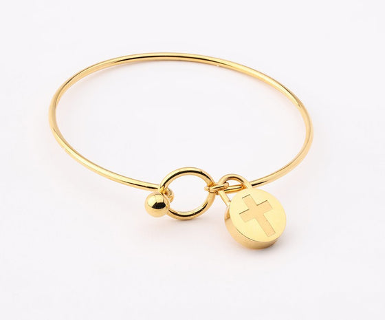 Journey Bangle - Circle Charm - Yellow-Christian Bracelets-SonGear Marketplace-SonGear