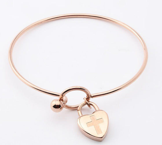 Journey Bangle - Heart Charm - Rose-Christian Bracelets-SonGear Marketplace-SonGear