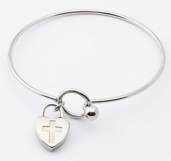 Journey Bangle - Heart Charm - Silver-Christian Bracelets-SonGear Marketplace-SonGear
