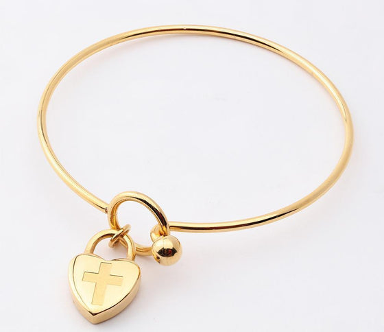 Journey Bangle - Heart Charm - Yellow-Christian Bracelets-SonGear Marketplace-SonGear