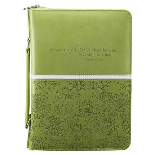 I Know the Plans Bible Cover, Green, Medium