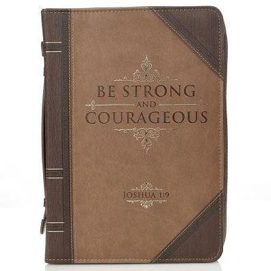 Strong and Courageous Bible Cover, Brown, Large