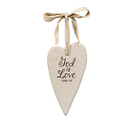 God Is Love Ceramic Heart Ornament