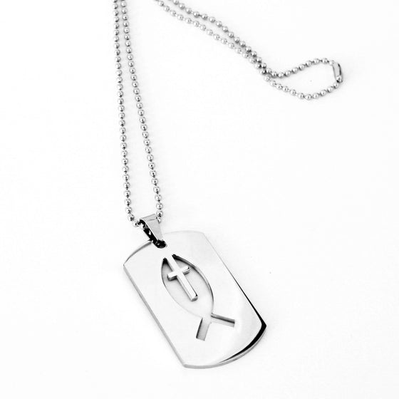 Jesus Fish and Cross Dog Tag Necklace
