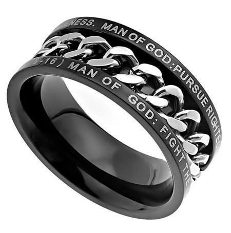 'Man Of God' - Men's Black Chain Ring-Christian Rings-Spirit and Truth-SGN3957511109-SonGear