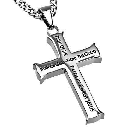 'Man of God' - Men's Iron Cross Necklace-Christian Necklaces-Spirit and Truth-SGN3504587699-SonGear