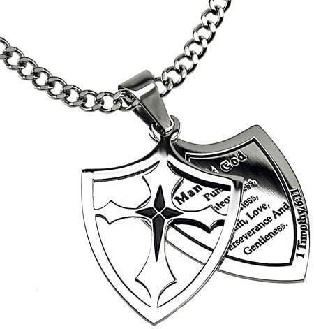 'Man Of God: Pursue' - Men's 2 Piece Shield Cross-Christian Necklaces-Spirit and Truth-SGN3844965623-SonGear
