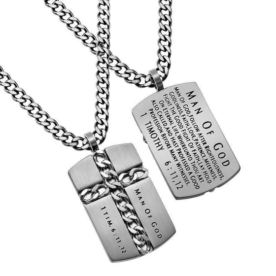 'Man Of God' - Silver Chain Cross Necklace-Christian Necklaces-Spirit and Truth-SGN2336543873-SonGear