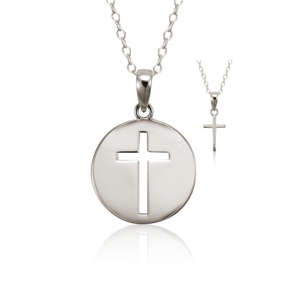 Mother/Daughter Set, Teach Me Sterling Silver Cross Necklace (Set of 2)-Christian Necklaces-Halle Joy-SonGear