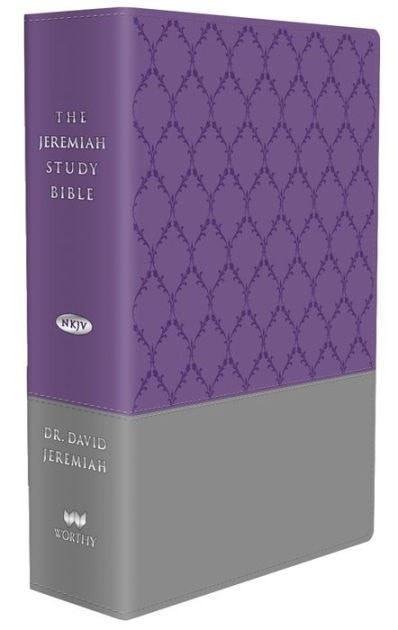 NKJV Jeremiah Study Bible, soft leather-look, purple/gray-Christian Bibles-SonGear Marketplace-SonGear
