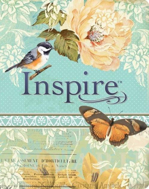 NLT Inspire Bible: The Bible for Creative Journaling, LeatherLike, Silky Vintage Blue/Cream-Christian Bibles-SonGear Marketplace-SonGear