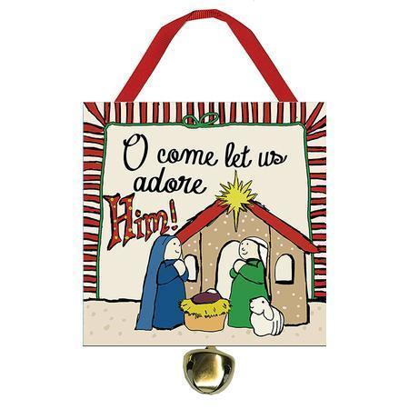 Oh Come Let Us Adore Him Ornament with Bell-Christian Christmas Ornaments-SonGear Marketplace-SonGear