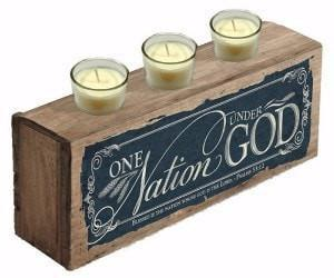 One Nation Under God Wooden Votive Holder-Christian Candles-SonGear Marketplace-SonGear