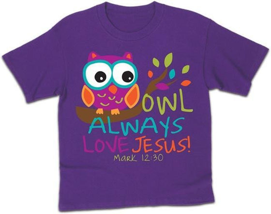 Owl Always Love Jesus - Christian Kids T-Shirt-Christian T-Shirts-Kerusso-KDZ1287LG-SonGear