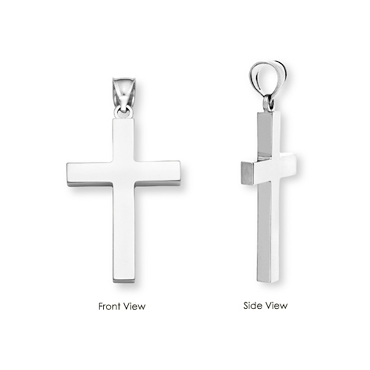Plain 14K White Gold Cross Pendant-Christian Necklaces-Apples of Gold-SonGear