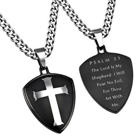 'Psalm 23' - Black R2 Shield Cross Necklace-Christian Necklaces-Spirit and Truth-SGN1858448361-SonGear