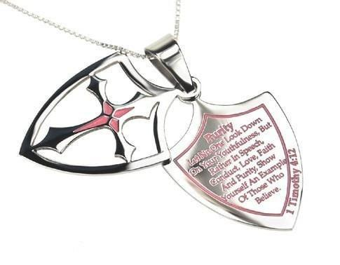'Purity' - Women's 2 Piece Pink Shield Cross Necklace-Christian Necklaces-Spirit and Truth-SonGear