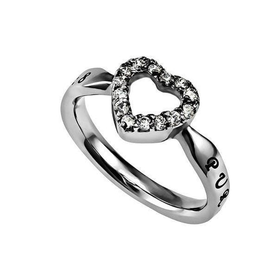 'Purity' - Women's CZ Open Heart Ring-Christian Rings-Spirit and Truth-SGN810803645-SonGear