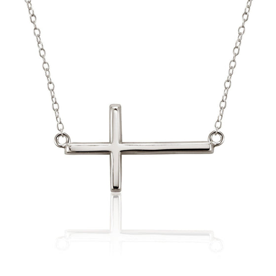 Remembered Sterling Silver Sideways Cross Necklace-Christian Necklaces-Halle Joy-SonGear