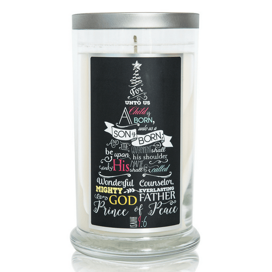 Scented Scripture Candle | Isaiah 9:6 | Christmas Tree Scent-Christian Candles-Classic City Gift-SonGear