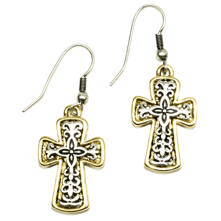 Scrolled Cross Earring-Christian Earrings-Halle Joy-SonGear