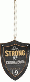 Shield, Be Strong and Courageous, Car Charm-Christian car charm-SonGear Marketplace-SonGear