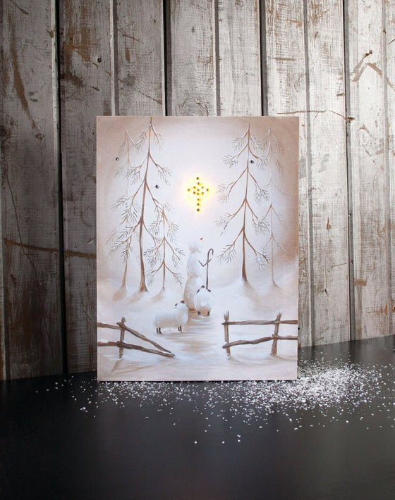 Star Of Wonder/Snowman Lighted Canvas-Christian Seasonal & Holiday Decorations-SonGear Marketplace-SonGear