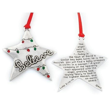 Star Ornament, Believe-Christian Holiday Ornaments-SonGear Marketplace-SonGear