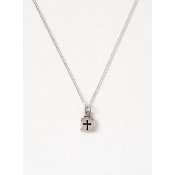 Sterling Silver Children's Cross Necklace - Flat Square-Christian Necklaces-Bob Siemon-SonGear