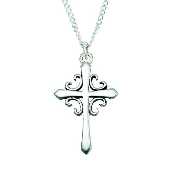 Sterling Silver French Cross Necklace-Christian Necklaces-Bob Siemon-SonGear