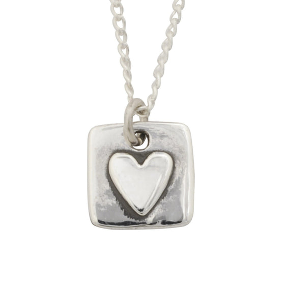 Sterling Silver Heart Necklace - Raised Heart/1 Cor. 13-Christian Necklaces-Bob Siemon-SonGear