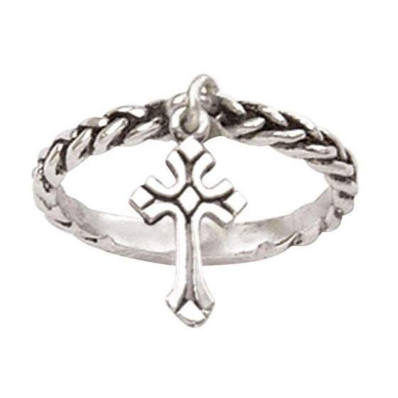 Sterling Silver Ladies' Cross Christian Ring - Dangle-Christian Rings-Bob Siemon-511-821-3568:4:2206437855-SonGear