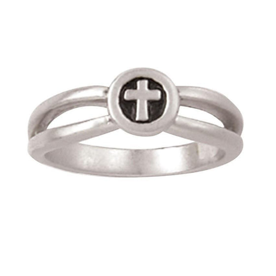 Sterling Silver Ladies' Cross Christian Ring - Round w/ Open Band-Christian Rings-Bob Siemon-511-821-372X:4:1488472759-511-821-372X:4:1488472759-SonGear