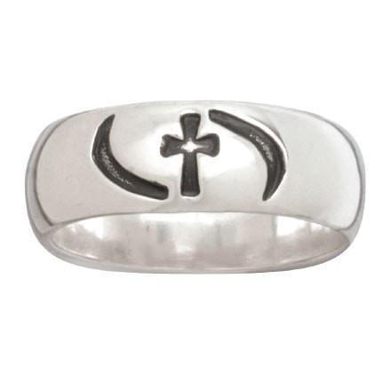 Sterling Silver Ladies' Cross w/ Waves Ring-Christian Rings-Bob Siemon-SGN4139673382-SonGear