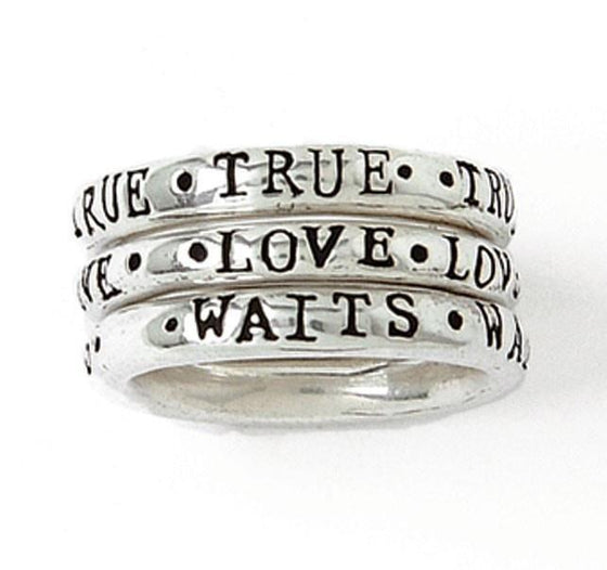 Sterling Silver Ladies' True Love Waits Rings - Stackable Set of 3-Christian Rings-Bob Siemon-SGN199645209-SonGear