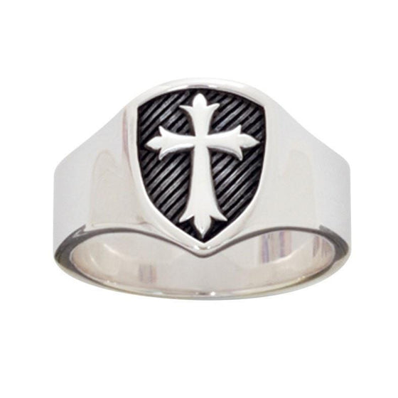 Sterling Silver Men's Cross Christian Ring - Signet Shield-Christian Rings-Bob Siemon-511-830-9441:8:1912310461-511-830-9441:8:1912310461-SonGear
