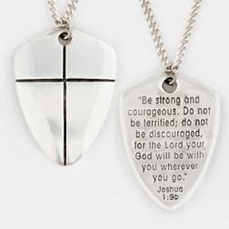 Sterling Silver Necklace - Shield of Faith Large-Christian Necklaces-Bob Siemon-SonGear