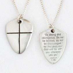 Sterling Silver Necklace - Shield of Faith Small-Christian Necklaces-Bob Siemon-SonGear
