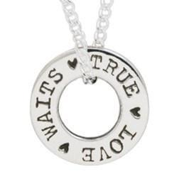 Sterling Silver True Love Waits Necklace - Washer with Chain-Christian Necklaces-Bob Siemon-SonGear
