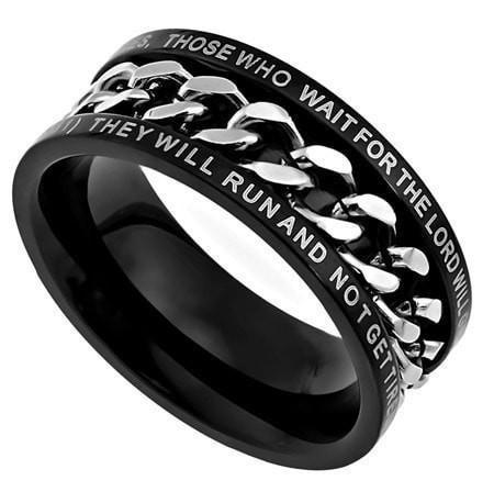 'Strength' - Men's Black Chain Ring-Christian Rings-Spirit and Truth-SGN373051175-SonGear