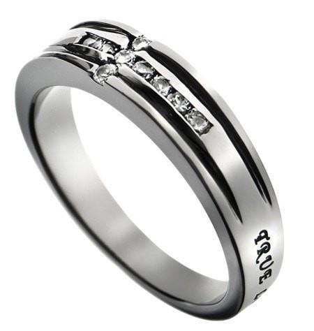 'True Love Waits' - CZ Channel Cross Ring-Christian Rings-Spirit and Truth-SGN3484436336-SonGear